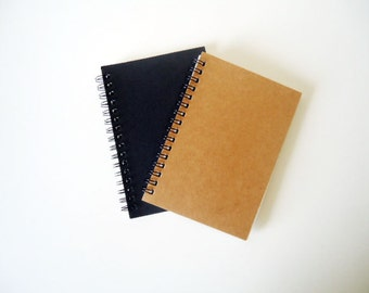 Set of 2 A6 Recycled Notebook Journal in Black and Kraft Card stock eco friendly diaries A6 Notebook handmade diary sketch book set