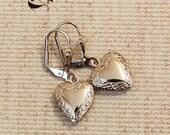 Vintage Heart Locket Earrings in Silver Tone