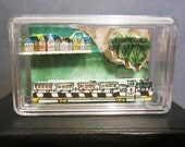 Small Clear Box Diorama with Magnet Back - Train, Town and Forest - Green, Brown