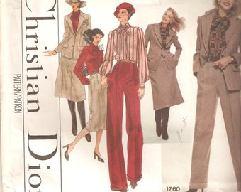 UNCUT Vogue Sewing Pattern 1760 design by Christian Dior, Sz 14, 1980s