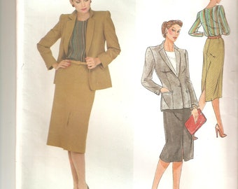 UNCUT Vogue Sewing Pattern, design by Christian Dior, for Jacket, Skirt, Blouse, Sz 14