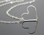 Sterling Silver HEART Necklace, Floating Heart Necklace Pendant, Silver Heart Pendant.