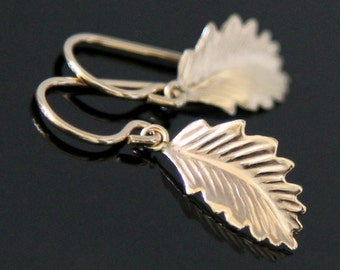 LEAF Earrings, Gold Filled or Sterling Silver, Tiny Leaf Gold Earring.