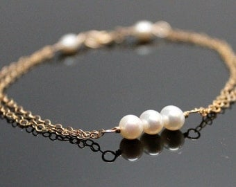 Freshwater Pearl Bracelet, 14k GOLD FILLED, Past, Present and Future, Bridesmaids Gift.