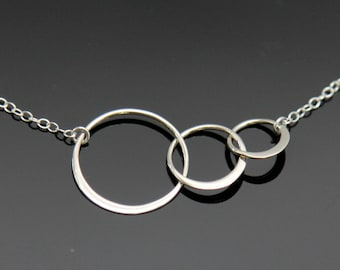 THREE Circle Necklace - Sterling Silver,  ETERNITY Circle Necklace, Interlocking Circle Necklace, Past Present Future.