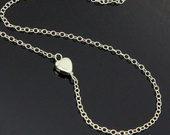 HEART Necklace - Sterling Silver, Sideways Tiny Heart Necklace, Silver Heart Necklace.