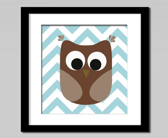 owl art, owl kids art, chevron, Baby Boy Nursery Art, Boy Nursery Decor, owl Nursery Art, owl Bedroom Art, brown Blue, owl art, owl kids art