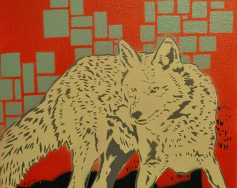 Coyote pop art spray paint stencil painting