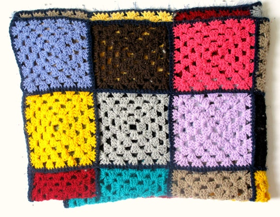 Vintage Colourful Crochet Blanket