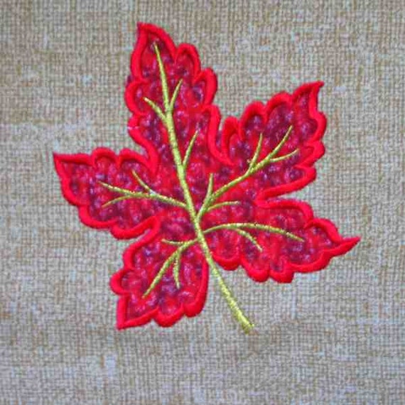 Items similar to fall leaf applique and embroidered quilt