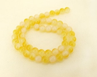 "Charm Yellow Candy Jade Glass Gemstone Beads ---- 8mm ----about 54beads----about 16"" in length"