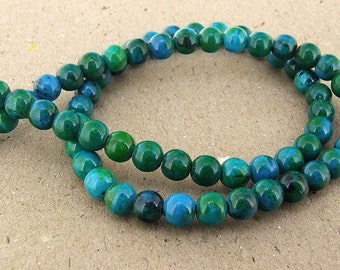 "Charm Round Azurite Chrysocolla Jasper Gemstone Beads--- 6mm ----about 64Pieces----15"" in length"