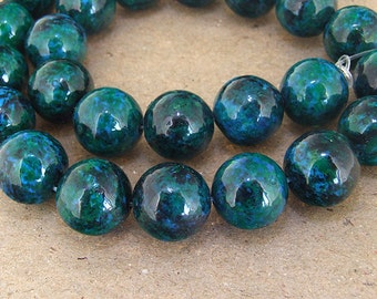 "Charm Round turriform Azurite Chrysocolla Jasper Gemstone Beads--- 14mm ----about 29Pieces----15"" in length"