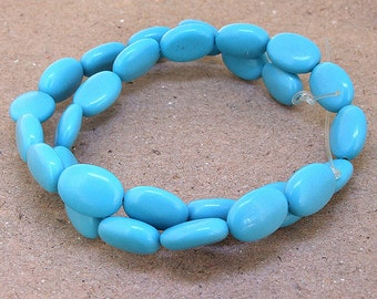 One Full Strand--- Oval Handwork Turquoise Gemstone Beads ----14mmx10mm---- 28Pieces----16 inch strand