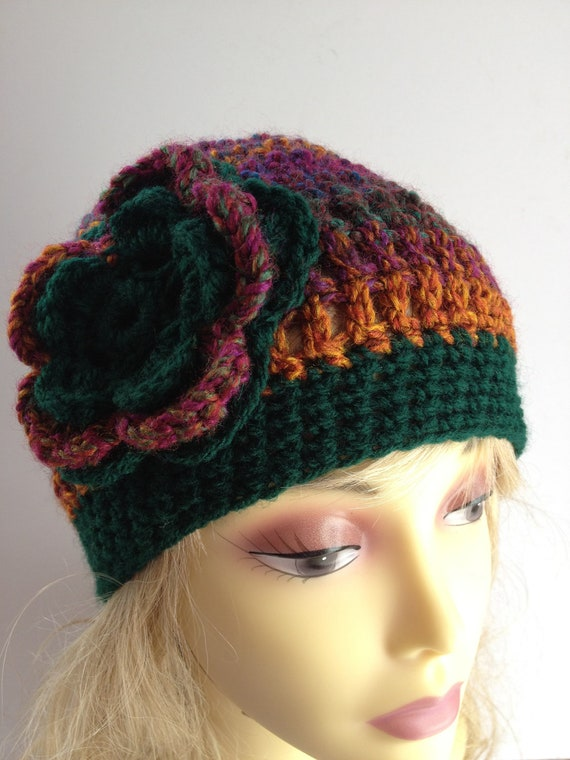 OOAK unique designer womens green,wine, multicolour beanie,cap,cloche crochet/knitted hat with large crochet flower applique