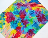 SALE Rainbow Floral Tutti Frutti Abstract Acrylic Painting 11x14 FREE SHIPPING Colorful Flower Fine Art Tropical Island Wall Decor Neon Gift