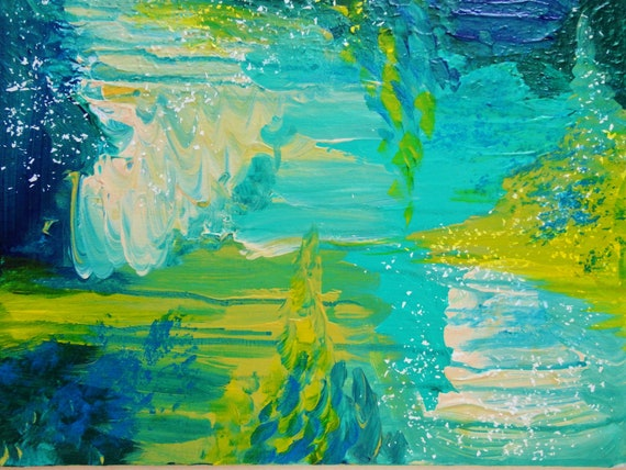 SALE - Amazing Abstract Acrylic FREE SHIPPING Seaside Dreams Painting Beach Ocean Waves Xmas Gift Teal Navy Citrine Chartreuse Turquoise