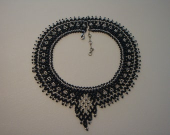 Necklace Black & White Glass Bead Necklace....Make your WOW statement with this around your neck..
