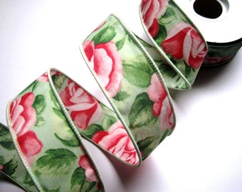 """Rose Petals Cotton Wired Ribbon Trim, Pink / Green, 1 3/8"""" inch wide, 1 yard, For Gift Packing, Wreaths, Center Pieces, Home Decor"""