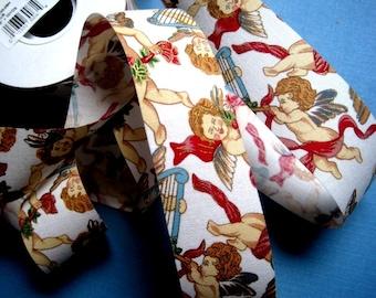 "Cherub Angels Cotton Ribbon Trim, Multi / White, 1 3/8"" inch wide, 1 yard, For Victorian & Romantic Crafts"