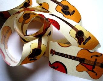 "Guitars Cotton Ribbon Trim, Multi Color, 1 3/8"" inch wide, 1 yard, For Mixed Media, Scrapbook, Altered Art, Home Decor, Accessories"