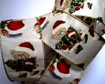 """Holiday Bears Wide Wired Ribbon, Multicolor / Natural, 2 1/2"""" inch wide, 1 yard, For Home Decor, Gift Baskets, Victorian & Romantic Crafts"""