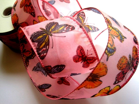 Sheer Wired Butterfly Ribbon, Pink, 2 1/2 inch wide, 1 yard, For Gift Packing, Wreaths, Center Pieces, Home Decor, Romantic Crafts.