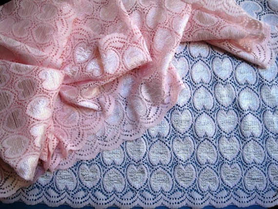 Elastic Hearts Wide Lace, Pink, 5 1/2 inch wide, 1 Yard For Apparel, Home Decor, Accessories, Mixed Media, Scrapbbok