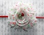 Red Green and White Christmas Chiffon Baby Flower Headband, Newborn Headband, Baby Girl Flower Headband, Photography Prop