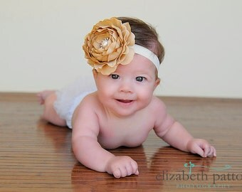Mocha and Ivory Flower Baby Headband, Newborn Headband, Baby Girl Flower Headband, Flower Headband, Photography Prop