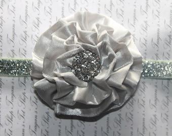Limited Edition Silver Sparkle Rhinestone Baby Flower Headband, Newborn Headband, Baby Girl Flower Headband, Photography Prop