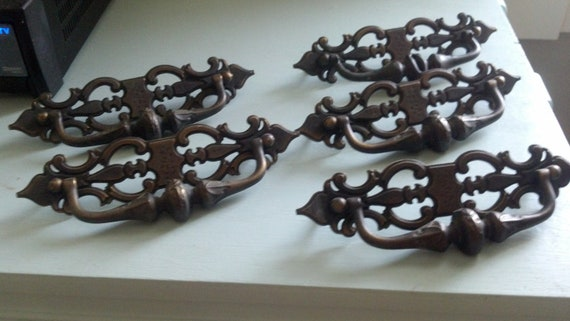 Vintage brass drawer pulls set of 5 Large 7 1/2 in wide heavy and solid Free shipping