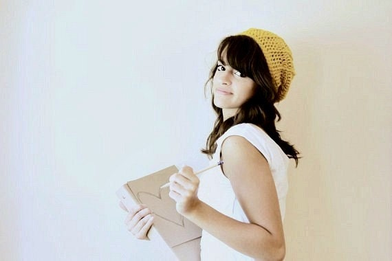 Ribbed Slouchy Hat in Mustard/Back to School/Women Fashion/Teen Fashion/Crochet Hat/Beautiefullthings