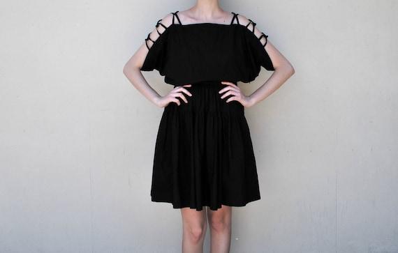 MAE.VALENTE Vintage Black Dress with Cut Out Detailing at Shoulders