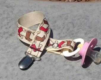 Pacifier clip western cowboy boots