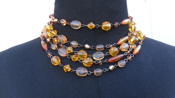 60's vintage amber coloured glass beads and antique brass 5 strand Victorian  style choker- one size fits all