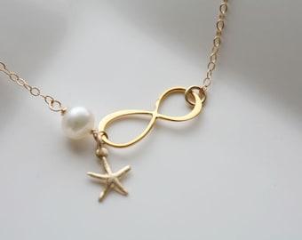 Gold Infinity necklace,Starfish necklace,Beach wedding,infinity necklace,bridesmaid gifts,sisterhood,customize birthstone,wedding