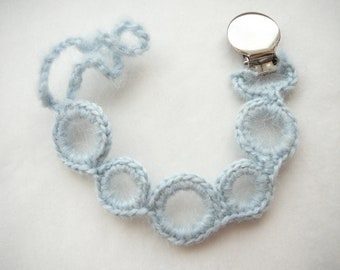 Spring baby accessory. Baby blue color, mohair wool. Pacifier or toy keeper.  (Universal- fits mam, soothie, nuk)