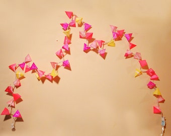 Paper Pyramid Lanterns - PRINCESS PEACH - Handmade Paper Lights in Neon Pink and Yellow