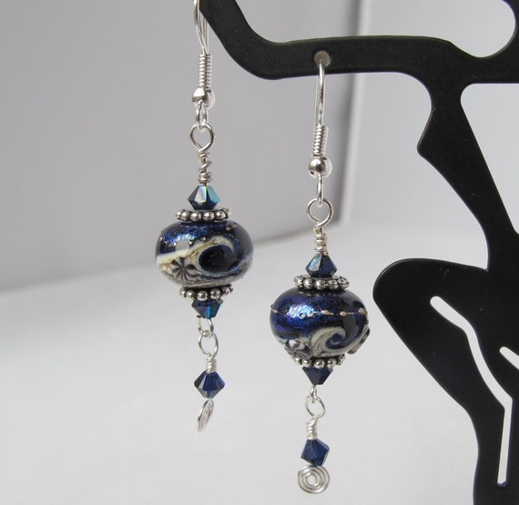 Midnight Wave Lampwork Dangles with Crystal Drops Earrings