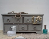 French Country Jewelry Box Painted Paris Gray Vintage Upcycled - WeeLambieVintage