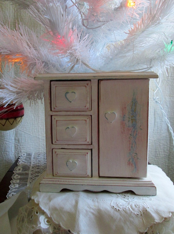 Shabby Chic Jewelry Box Armoire White Chippy by ...