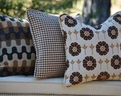 Designer Fabric Pillow -  Trendy Contemporary Jaquard  floral Brown Gold Cream-Ready To Ship-Limited Edition