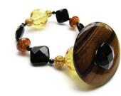 Pendant Bracelet - Black Onyx, Crystal, and Tiger Eye - Eco Friendly Jewelry