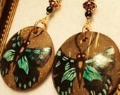 Green Butterfly Coconut Shell Earrings