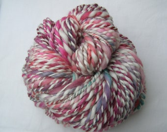 Hand Spun, Hand Dyed, Thick & Thin, Super Bulky, Art Yarn, Merino 2 Ply 'Vintage Rose' 7.7oz / 146 yards