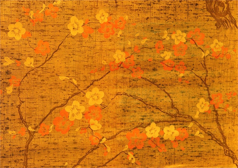 1960 S Vintage Wallpaper Gold Metallic Dogwood Tree And
