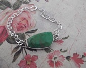 Sterling silver Jade stone on a sliver tone bracelet, jade stone, silver bracelet