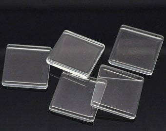 10 - 25mm Clear Glass Cabachons, Glass Square Flat  Tiles - Square - 1 Inch  (15124)