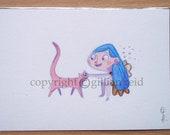 Original A5 Watercolour of Bluebell Ballerina.